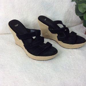 Ugg Black Suede Basket Weave Wedges Size 11